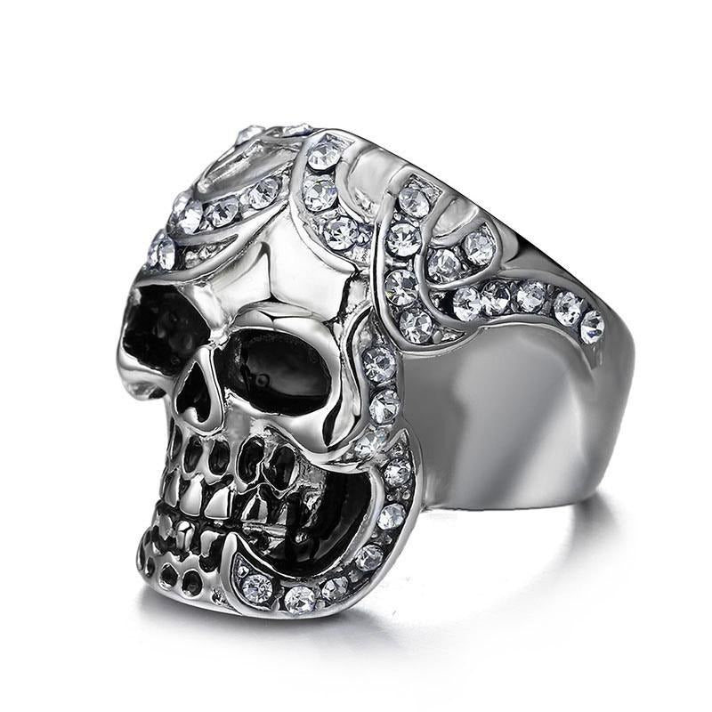 Vintage Europe / Horrible Ghost Stainless Steel Metal Skull Ring / Cool rings - HARD'N'HEAVY