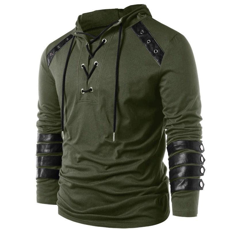 Vintage Faux Leather Patchwork Lace-Up Hoodie / Full Sleeve Drawstring Hoodies / Male Outerwear - HARD'N'HEAVY