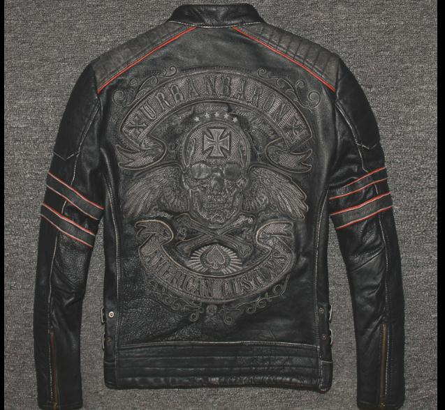 Vintage Genuine Leather Biker Jacket with Skull Cross on Back - HARD'N'HEAVY