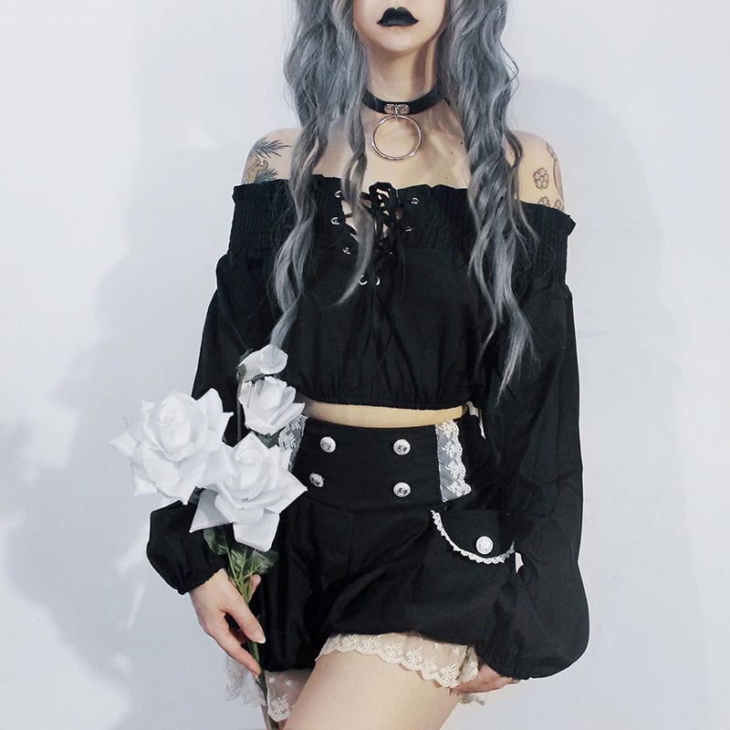 Vintage Gothic Cropped Top for Women / Grunge Hollow Out Pleated T-shirts With Strap - HARD'N'HEAVY