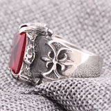Vintage Gothic Stainless Steel Ring / CZ Red Dragon Claw / Gothic Jewelry - HARD'N'HEAVY