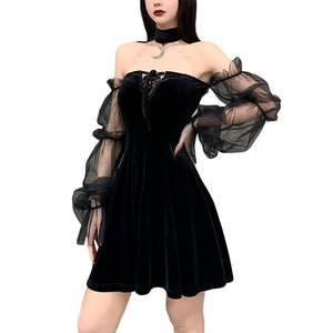 Vintage Harajuku Mini Dress / High Waist Gothic Dress / Black Dress With Moon Choker