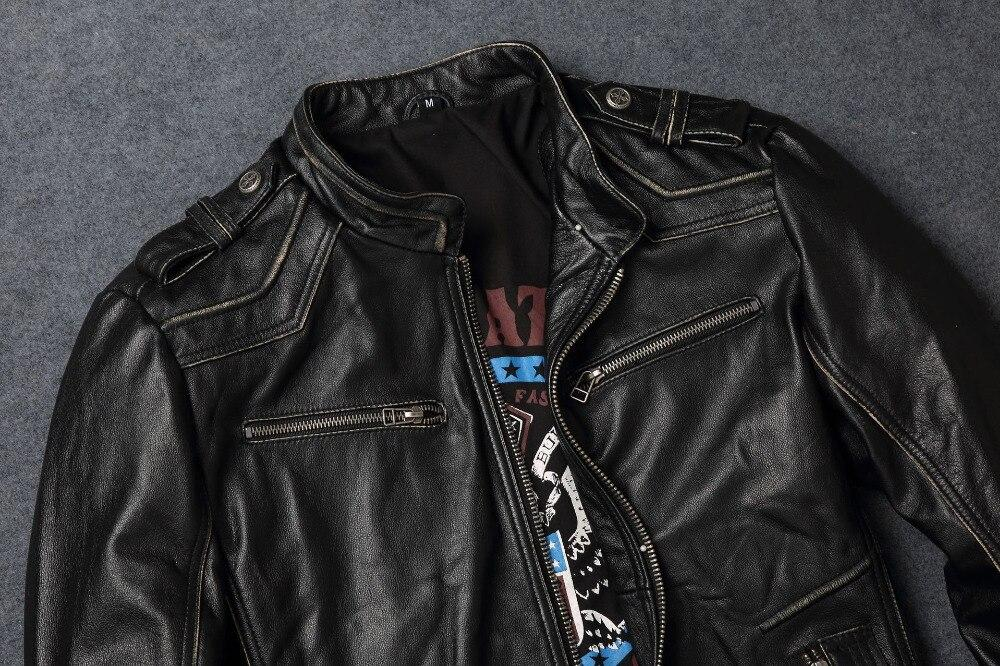 Vintage Leather Biker Jacket With Cross / Retro Black Men Motorcycle Rock Style Jacket / Cowhide - HARD'N'HEAVY