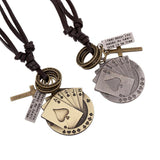 Vintage Leather Necklaces / Metal Poker Card Cross Chunky Pendant in Rock Style Jewellery - HARD'N'HEAVY