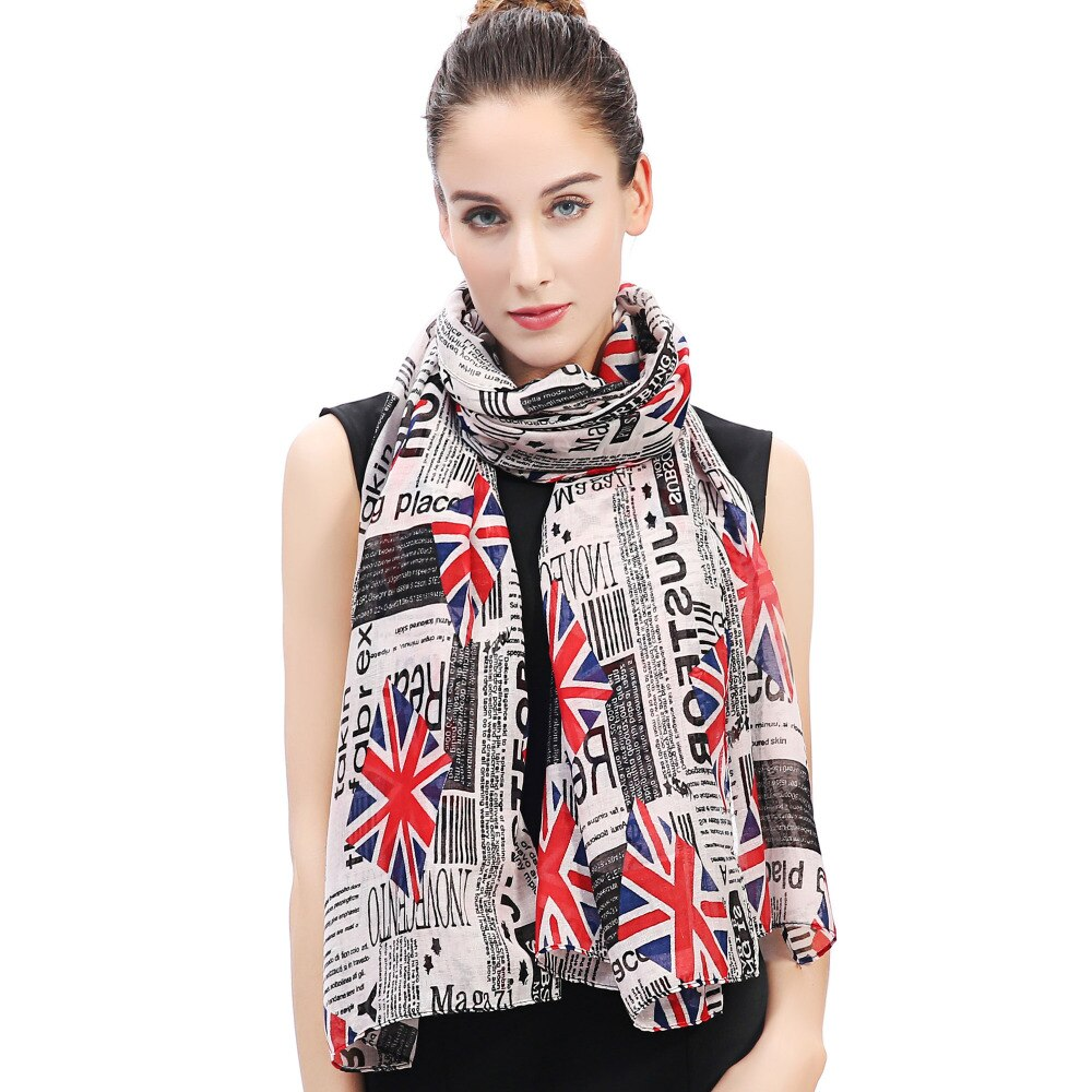 Vintage London Style Newspaper Accessories / Women's Scarf Shawl Wrap with British Flag Print - HARD'N'HEAVY