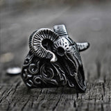Vintage Satanic Demon Skull Rings / Cross Goat Horn Punk Ring for Men & Women / Biker Jewelry - HARD'N'HEAVY