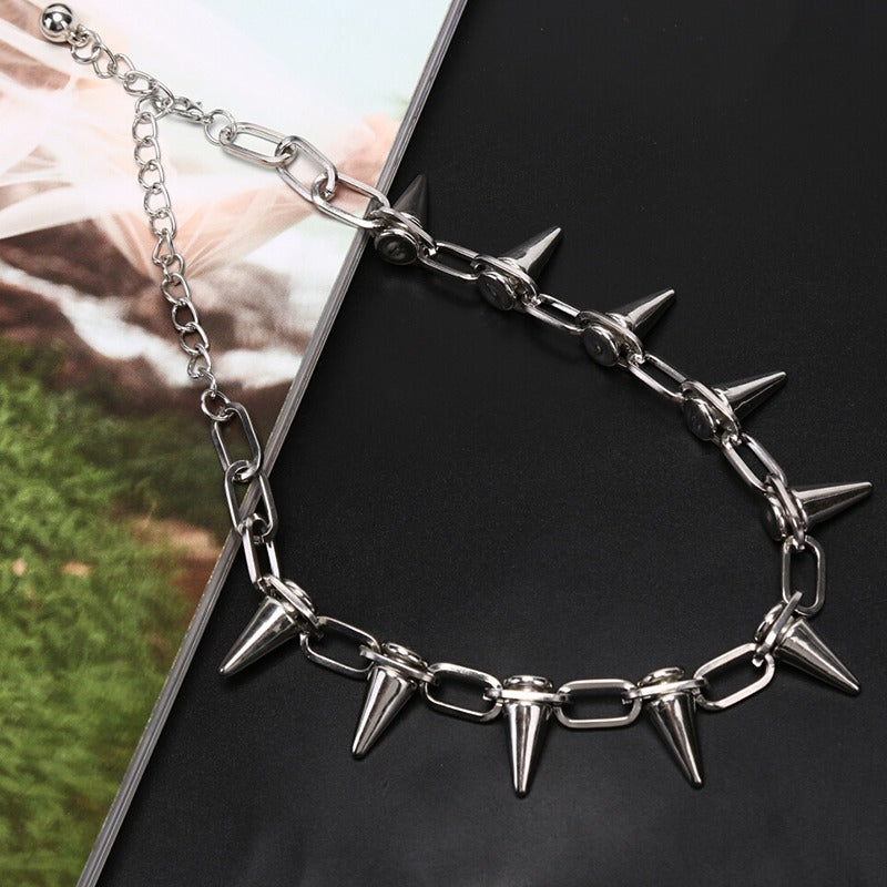 Vintage Spike Cone Stud Riveted Necklace / Alternative Jewelry For Women and Men - HARD'N'HEAVY