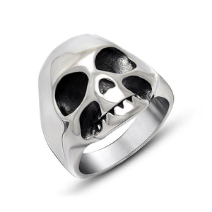 Vintage Stainless Steel Skeleton Ring / Retro Skull Ring in Rock Style Jewelry