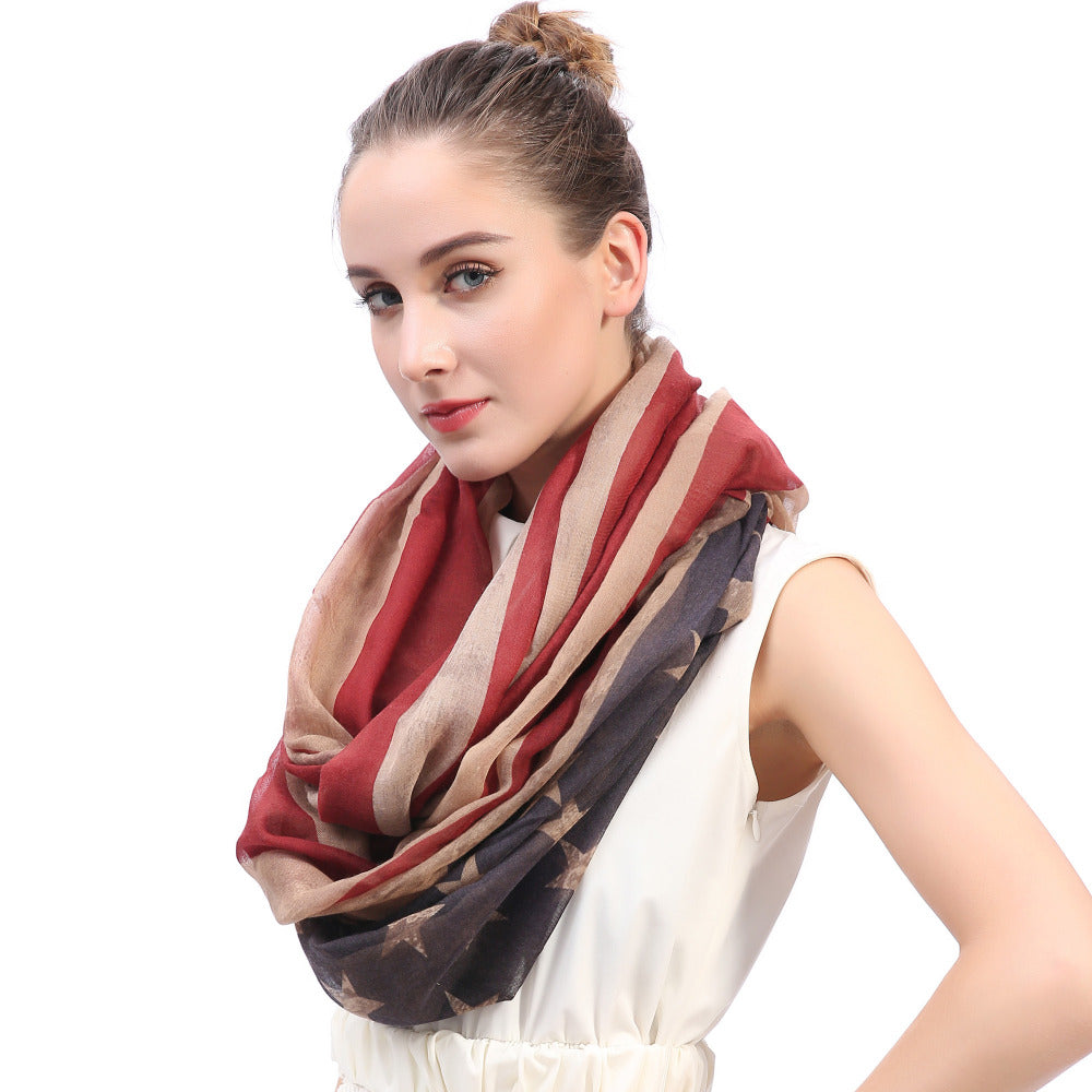 Vintage USA Flag Star Stripe Printed Infinity Loop Scarf / Women's Gift Accessories Fashion - HARD'N'HEAVY