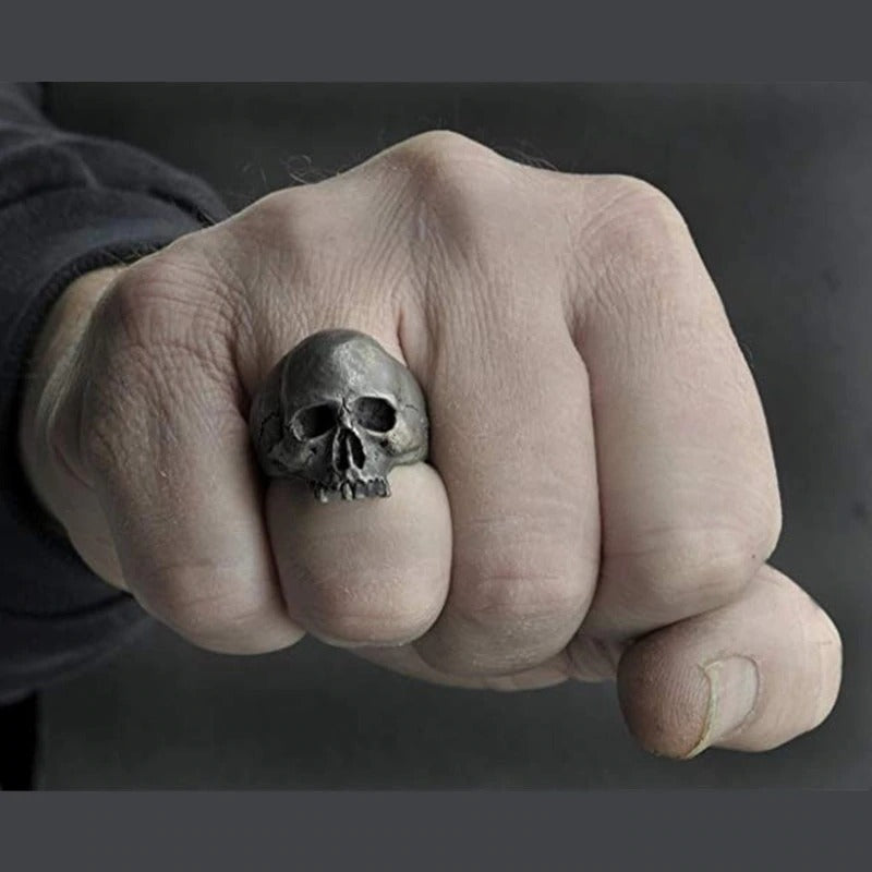 Vintage Zinc Alloy Skull Silver Color Ring / Biker Rock Roll Gothic Jewelry / Edgy Accessories - HARD'N'HEAVY