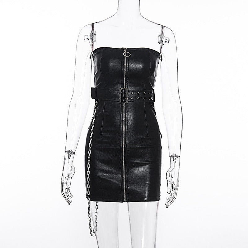 What to Wear to a Concert / Zipper Corset Dress with Sash and Chain in Gothic Style - HARD'N'HEAVY