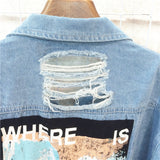 Where is My Mind? Print Bomber Jacket / Blue Ripped Distressed Denim Punk Jacket - HARD'N'HEAVY