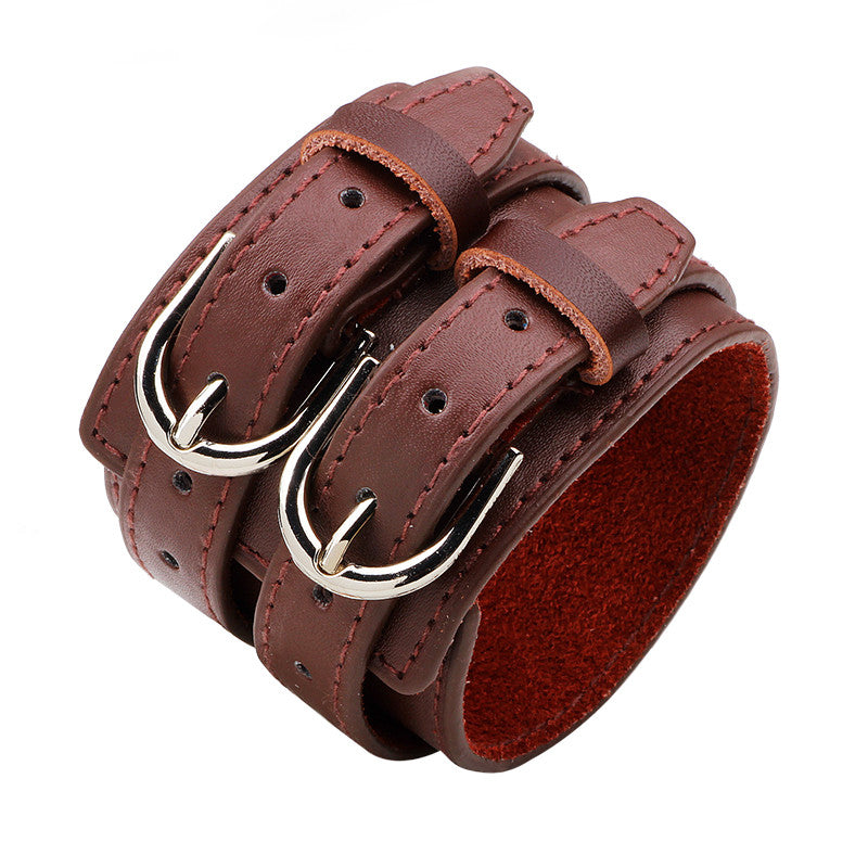 Wide Belt Genuine Leather Charm Bracelet / Alternative Fashion Vintage Rock Accessories - HARD'N'HEAVY