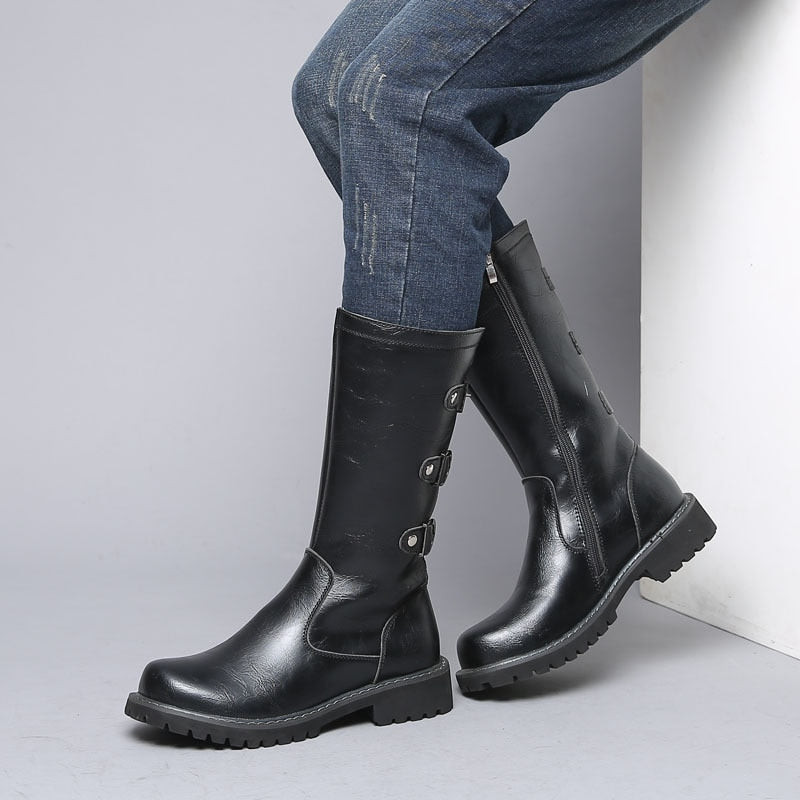 Wide Calf Boots / Military Combat Boots / Aesthetic Shoes - HARD'N'HEAVY
