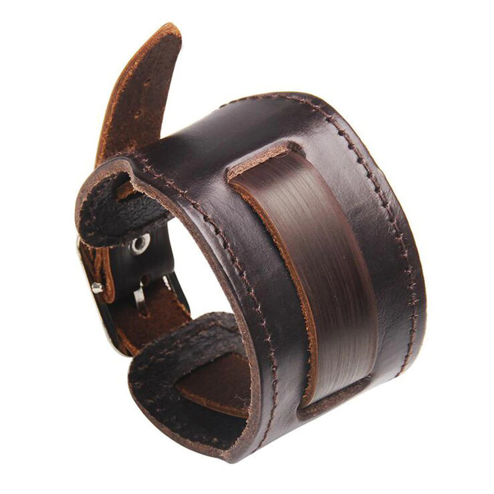 Wide Genuine Leather Bracelets & Bangles / Vintage Rock Style Wristband / Unisex Biker Jewelry - HARD'N'HEAVY