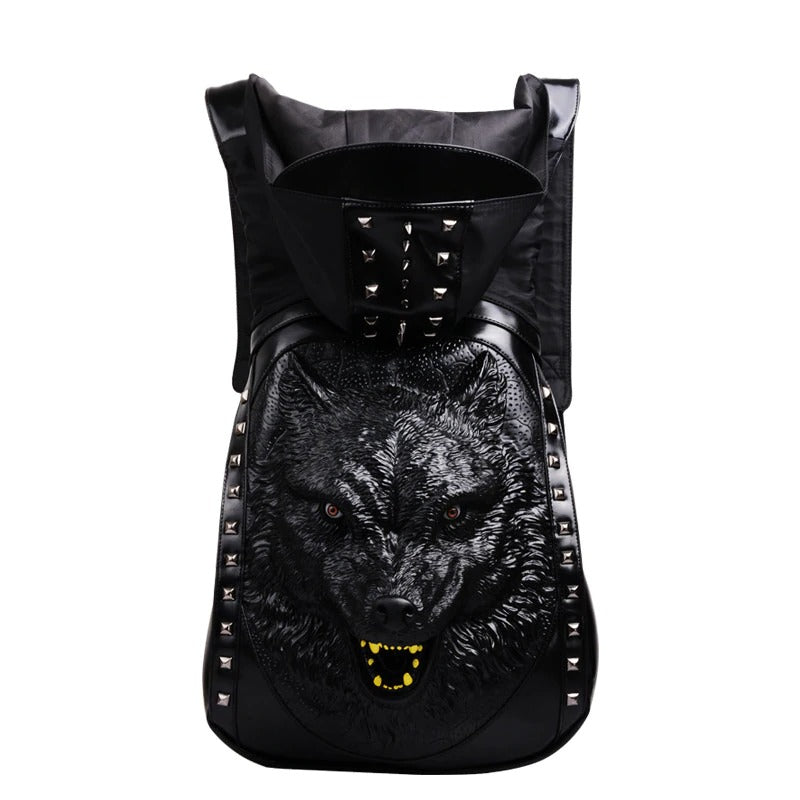 Wolf Backpack with Hood & Rivets / Alternative Fashion - HARD'N'HEAVY