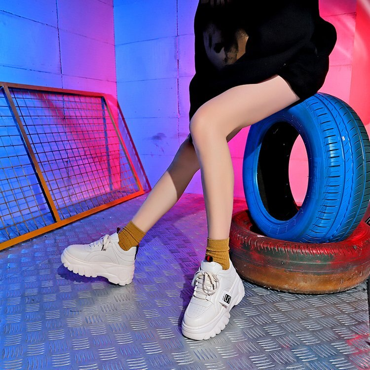 Woman's High Platform Sneakers / Breathable Aesthetic Shoes - HARD'N'HEAVY