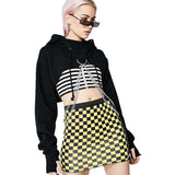 Women Black Long Sleeve Hoodies / Crop Top with Chain in Rock Style Clothes - HARD'N'HEAVY