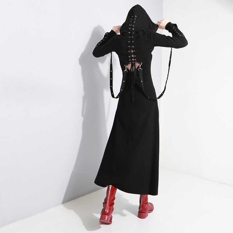 Women Black Vent Asymmetrical Long Spaghetti Strap Dress / Gothic Sleeveless Loose Fit Fashion Outfit - HARD'N'HEAVY