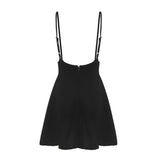 Women Cotton Strapped Black Mini Dress / Sleeveless Adjustable Dress in Alternative Fashion - HARD'N'HEAVY
