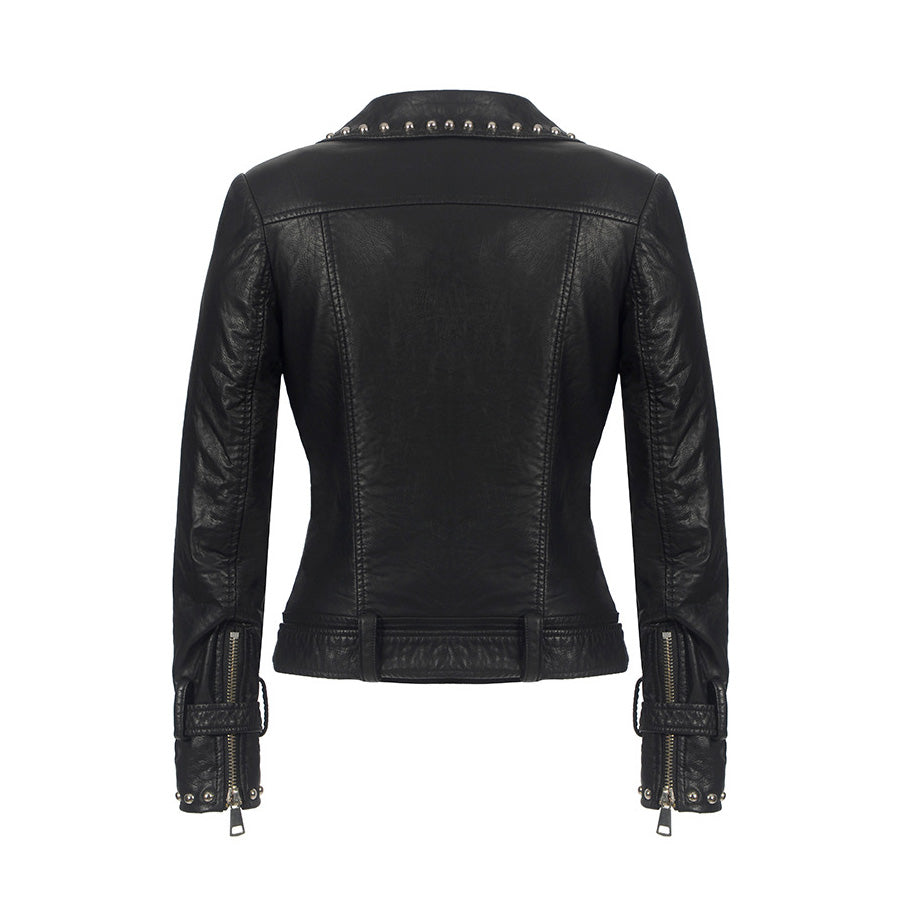 Women Faux Leather Jacket / Rivets Motorcycle Biker Coat / Snake PU Suede - HARD'N'HEAVY