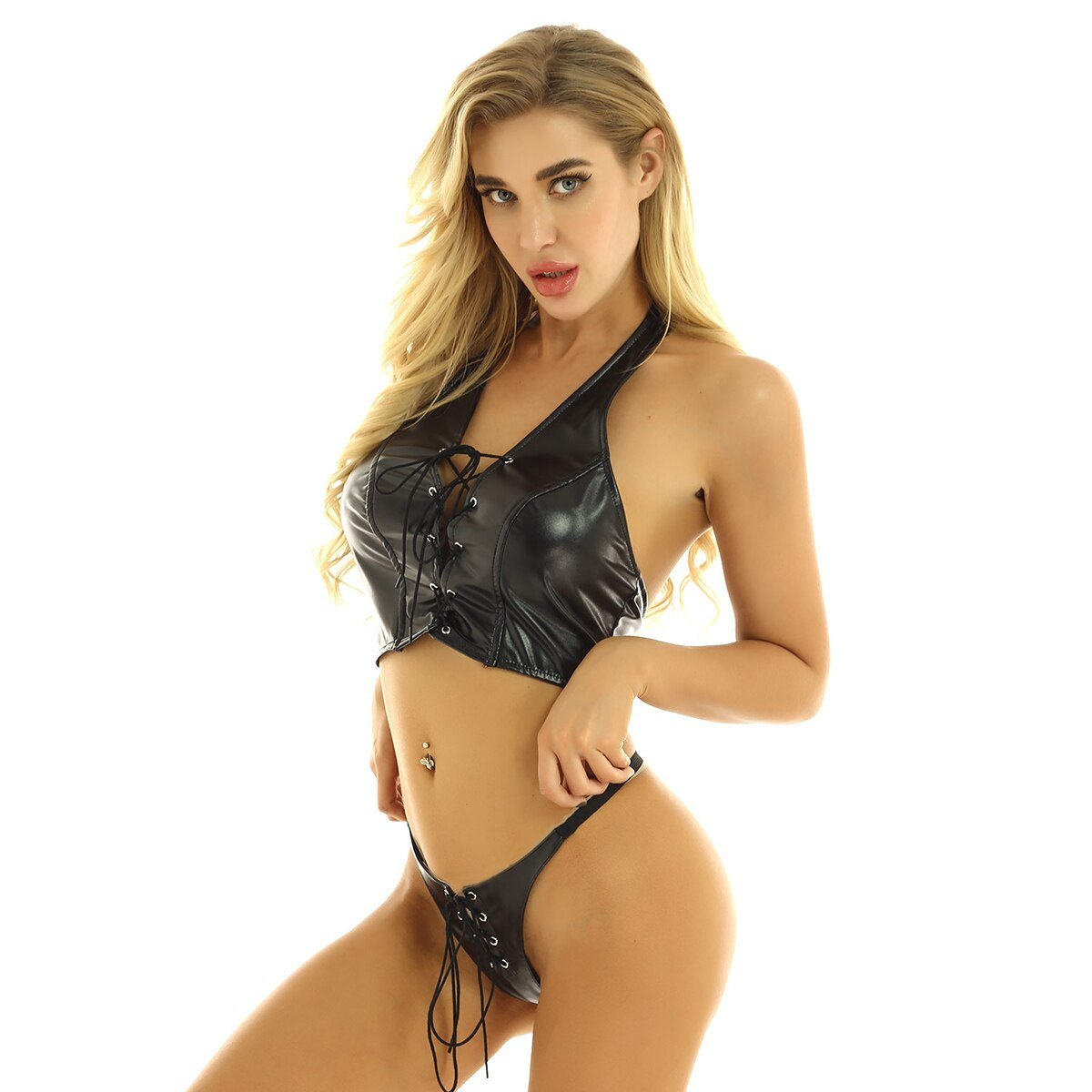 Women Vintage Faux Leather Clothing / Sexy Lace-Up Underwear for Women in Rock Style - HARD'N'HEAVY