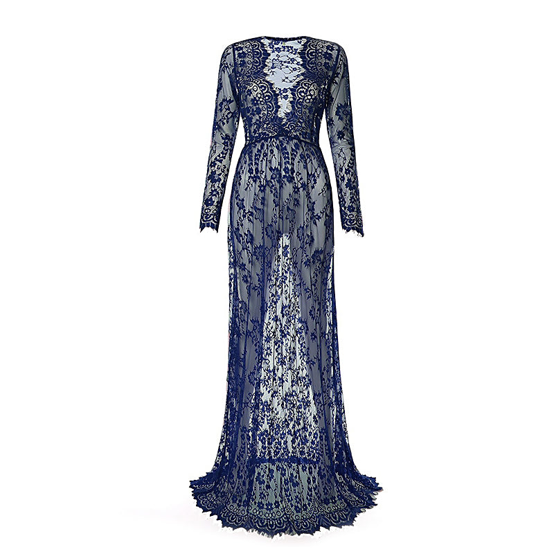 Women Goth Dress / Long Maternity Lace Evening Dresses / Deep V-Neck Design - HARD'N'HEAVY