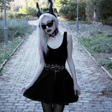 Women Gothic Skirts with Metal Rings and Zip / Alternative Style Clothing - HARD'N'HEAVY