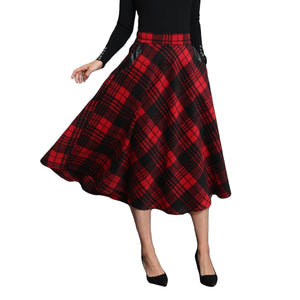Women High Waist Midi Plaid Skirt in British Style / Woolen Plus Size A Line Pleated Skirts - HARD'N'HEAVY