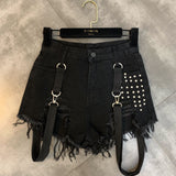 Women High-waisted Rivet Denim Short Shorts / Thin Hole Fringed Raw Edge Strap Shorts in Rock Style - HARD'N'HEAVY