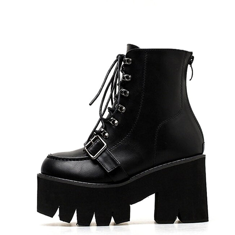 Women Lace-Up Cross-tie Platform Boots / Black Goth High Heel Round Toe Boots - HARD'N'HEAVY