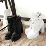 Women Lacing Platform Boots in Gothic Style / High Heels Female Black and White Short Boots