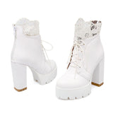 Women Lacing Platform Boots in Gothic Style / High Heels Female Black and White Short Boots - HARD'N'HEAVY