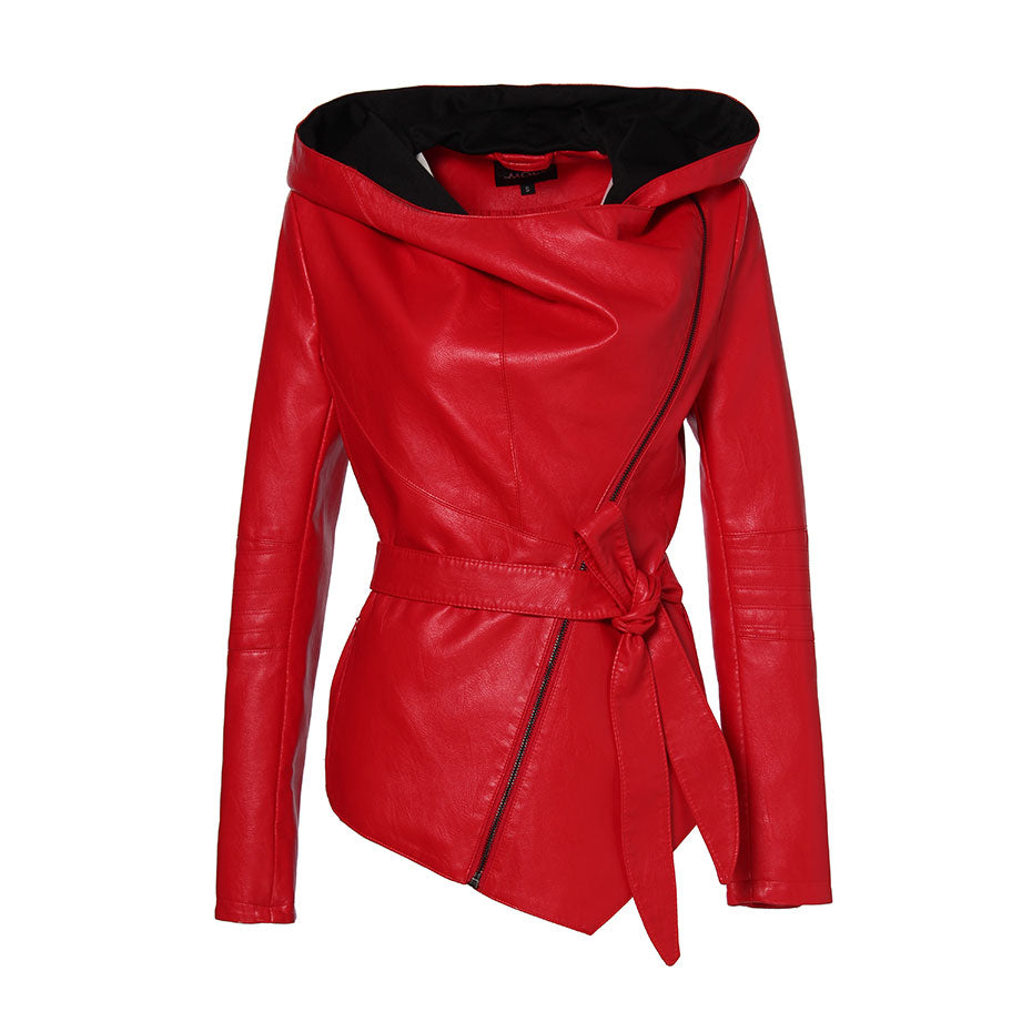 Women Leather Jacket / Full Sleeve Hooded Sashes Rock Style Motorcycle Jackets - HARD'N'HEAVY