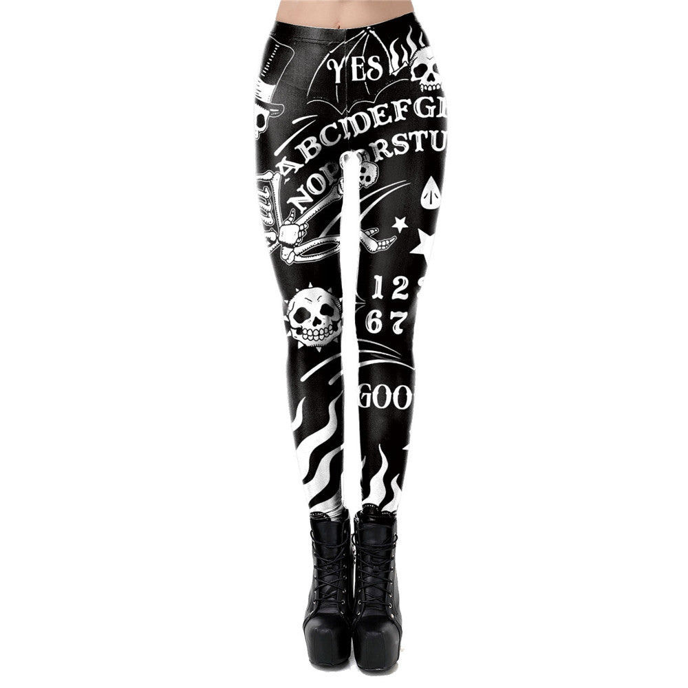 Women Leggings with Devil Head / 3D Printed Satan Trousers / Workout Elastic Fitness Pants - HARD'N'HEAVY