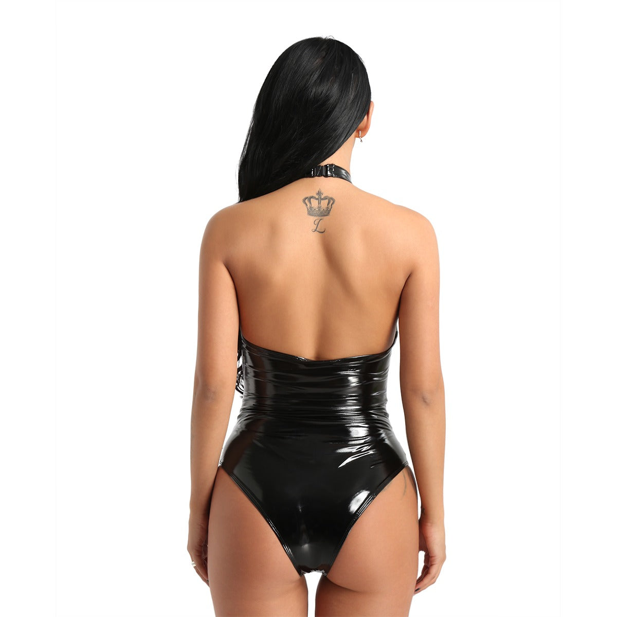 Women One-piece Wetlook Faux Leather Mesh Sexy Bodysuit / Ladies Halter High Cut Jumpsuit - HARD'N'HEAVY