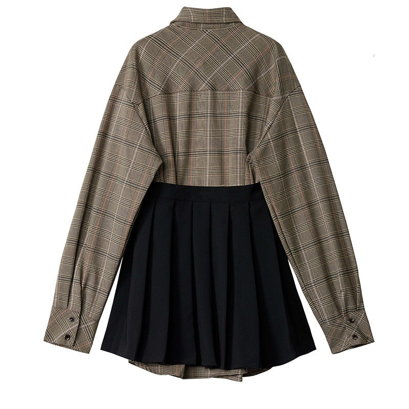 Women Plaid Pleated Split Two Piece Shirt Dress / Long Sleeve Loose Fit Fashion Tide Grunge Outfits - HARD'N'HEAVY