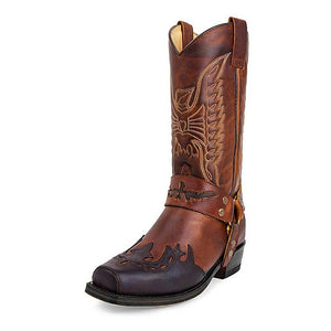 Women Polyurethane Leather Boots  / Western Cowboy Boots with Embroidery / Women Mid-calf Shoes