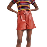 Women PU Bermuda Shorts with Faux Leather / Female Grunge Outfits - HARD'N'HEAVY