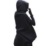 Women Rock Style Oversized Coat / Female Long Sleeve Fleece Solid Asymmetrical Hem - HARD'N'HEAVY
