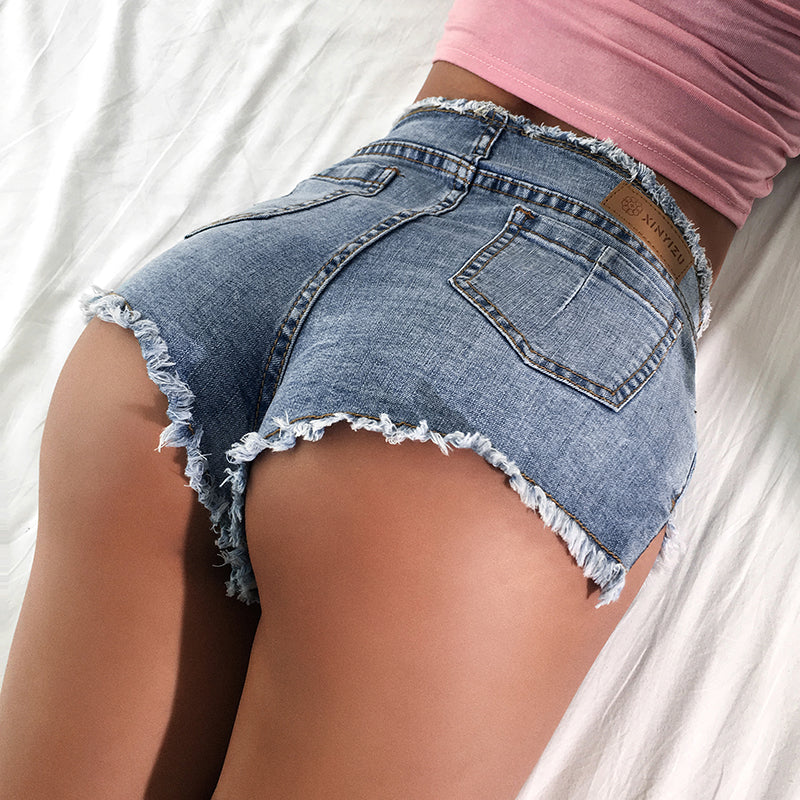 Women Sexy Lace Up Denim Short Shorts With Double Zip Details in Rock Style - HARD'N'HEAVY