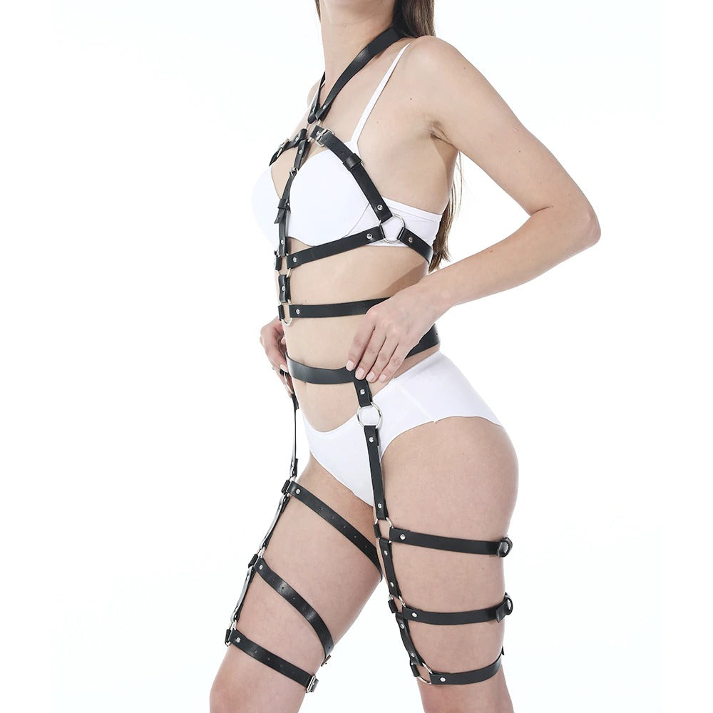 Women Sexy PU Leather Body Harness / High Waist Garter Belt Suspenders for Role Play - HARD'N'HEAVY