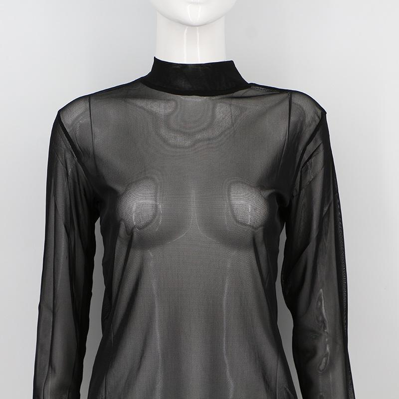 Women Sheer Mesh T-Shirt / Long Sleeves Top with High Neck - HARD'N'HEAVY