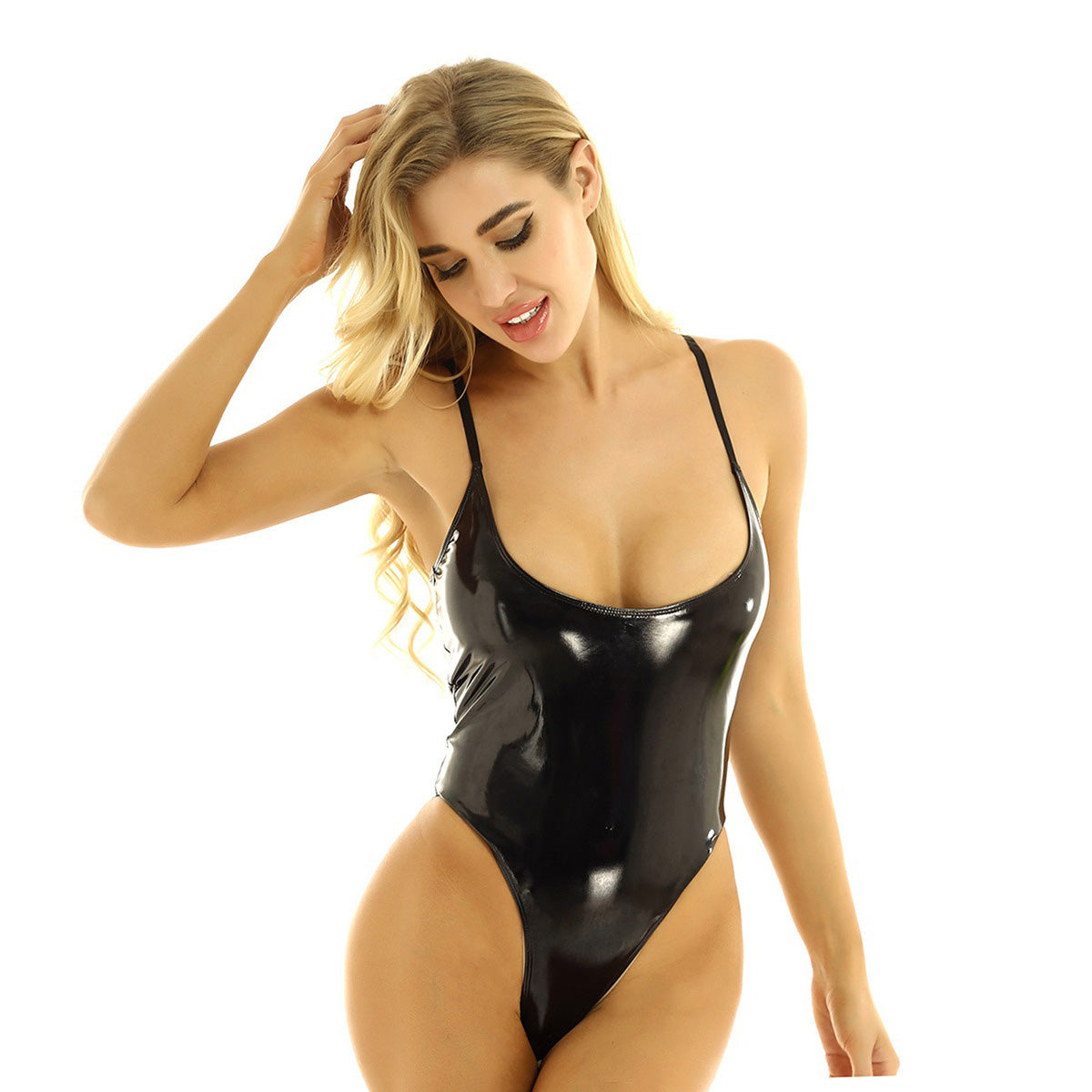 Women Shiny Bodystocking Sheer Mesh Splice Zipper Open Crotch High Cut Bodysuit - HARD'N'HEAVY