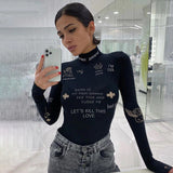 Women Slim Letter Print Bodysuit with Long Sleeve / Elastic Sports Streetwear for Fitness - HARD'N'HEAVY