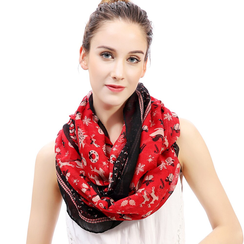 Santa Sleigh Reindeer Snowman Tree Infinity Loop Christmas Scarf / Women's Winter Gift Accessories - HARD'N'HEAVY