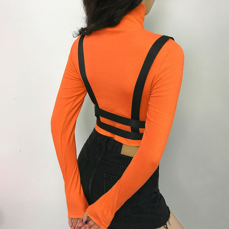 Women Tight Top With Ribbons and Plastic Buckle / Turtleneck Gothic Clothing Top - HARD'N'HEAVY