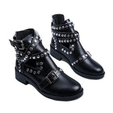 Women's Ankle Boots / Fashion Rivet Shoes with Leather Buckle Strap / Ladies Chunky Heels