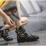 Women's Ankle Boots / Fashion Rivet Shoes with Leather Buckle Strap / Ladies Chunky Heels - HARD'N'HEAVY