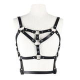 Women's Belt For Stocking Garters / Female Faux Leather Body Harness / Adjustable Body Bondage - HARD'N'HEAVY